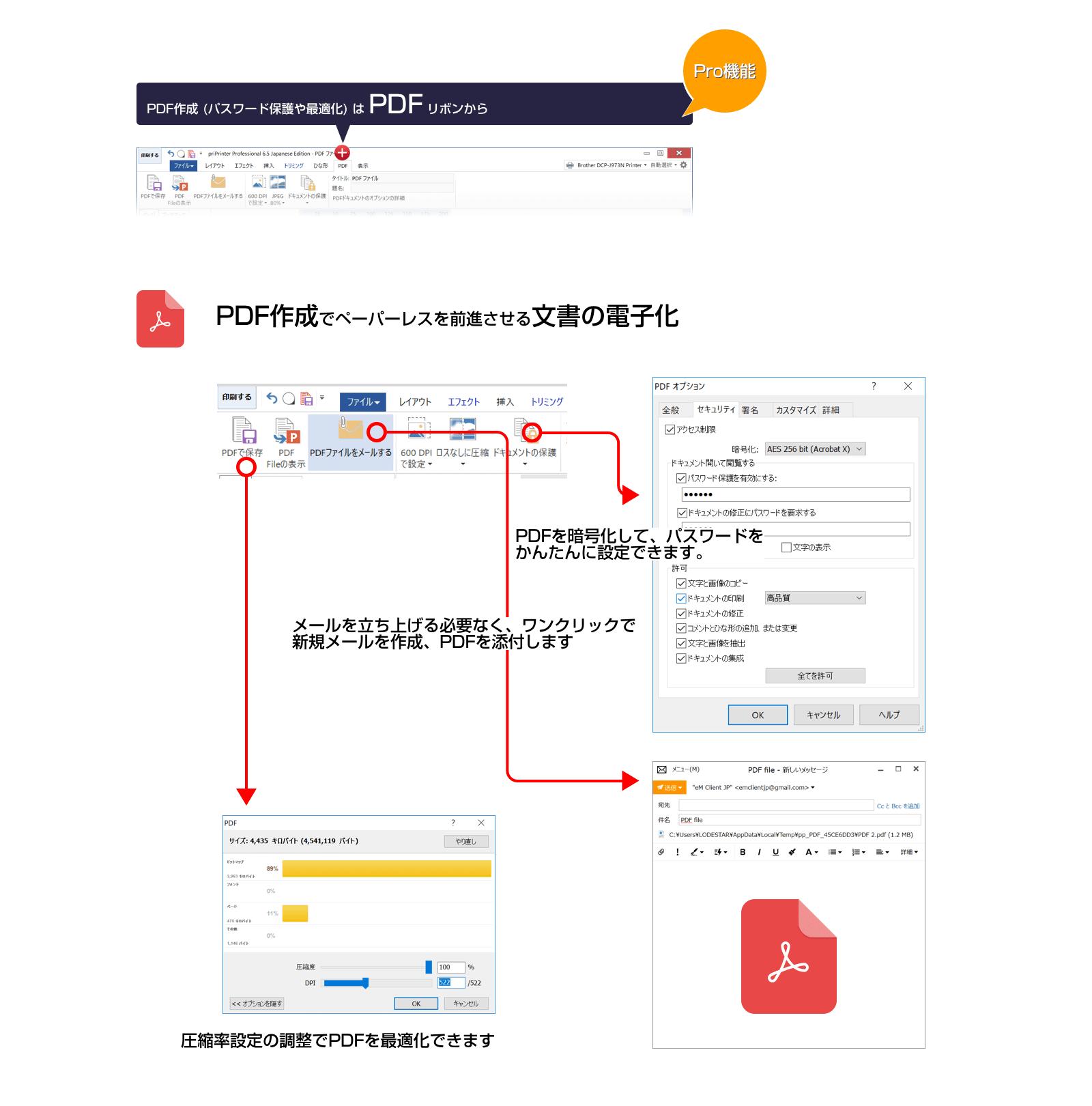 PDF作成も可能です。PDFのパスワード設定も簡単。そのままメールに添付もできます